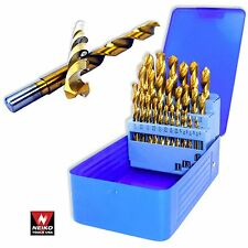 NEIKO 10176A - 29 PC Titanium Coated Drill Bit Set with Metal Storage - New