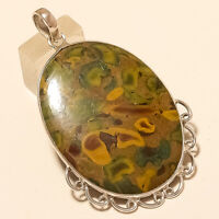 Natural African Designer Fruity Jasper Pendant 925 Strling Silver Jewelry Gifts