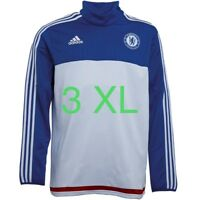 3XL adidas Mens CFC Chelsea 3 Stripe ClimaCool Football Training Top White/Blue
