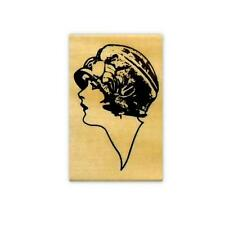 Flapper Profile sm. mounted rubber stamp, art deco lady, woman, people person #2