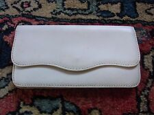 POCHETTE PORTEFEUILLE CUIR 11X21cm VINTAGE 60 WHITE LEATHER CLUTCH BAG WALLET