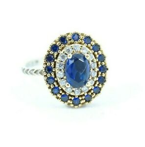 Turkish Jewelry  Sapphire Topaz 925 Sterling Silver Ring Size 7.5