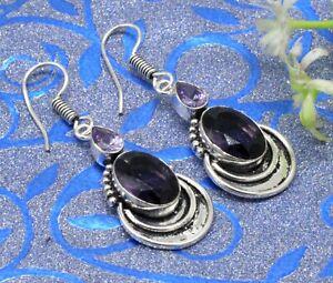 """925 Sterling Silver Purple Amethyst Gemstone Jewelry Earrings Size-1.20"""""""