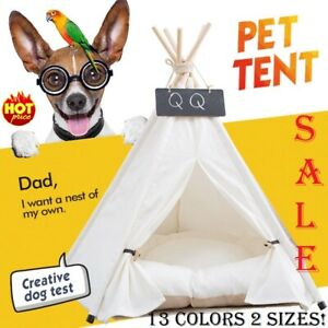 2021 Pet Tent House Cat Dog Bed Portable Teepee With Thick Cushion Available