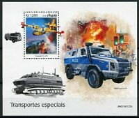 Angola Special Transport Stamps 2019 MNH Firefighting Aircraft Police 1v M/S