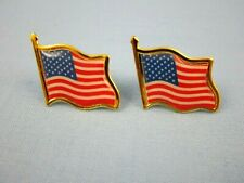 (2-TWO)  AMERICAN FLAG LAPEL PIN - HIGH QUALITY -  UNITED STATES / USA TIE PINS