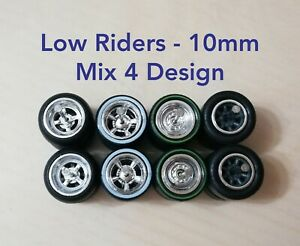 1/64 Custom Wheels LOW RIDERS WHEELS RUBBER TIRES 10MM MIX 4 DESIGN Hot Wheels