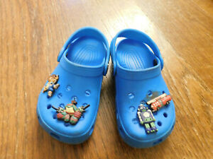 CROCS Clogs Water Shoes Baby Toddler Blue w pins Ninja Turtle Diego Robot Fire