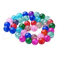 42 Stück Glas Knistern Runde Glasperlen Spacer Perlen Bastelperlen