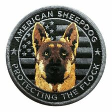 American Sheepdog USA Flag Protecting The Flock Patch (Iron on sew on -MTB47F)