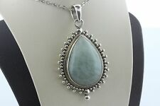 Doug Paulus DP Sterling Silver 925 India Bead Ball Aqua Stone Teardrop Pendant