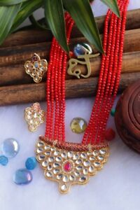 Indian Women Necklace Set Gold Plated Meenakari Kundan Fashion Jewelry Wedding