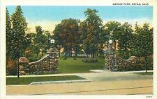 Bryan Ohio~Garver Park~Ornate Stone Pillar Entrance~Globe Lamps~1940s Linen PC