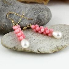 Koralle Ohrringe rosa – 925 Silber vergoldet Tropfen Süßwasser Perle weiß Hänger