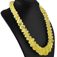 1034.50 CTS NATURAL RICH YELLOW CITRINE ROUND CARVED BEADS HAND MADE NECKLACE