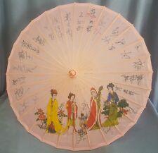 Japanese Oriental Parasol/Umbrell Pink Fabric Wooden Vintage Geisha Girl SIGNED