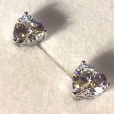 SS Heart shaped PAIR white sapphire 8mm gold gf stud earrings GIFT BOXED Plum UK
