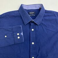 Nautica Button Up Dress Shirt Men's Size 18 34/35 Long Sleeve Blue Plaid Casual