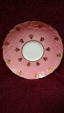 Aynsley China Saucer-C985 Gold on Pink/ Gold Trim