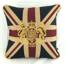 Vintage Style Union Jack Cushion with Gold Embroidered Royal Crest 18 x 18