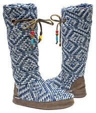 NWT Muk Luks Grace BLUE DIAMOND Fleece-Lined TALL Slipper Boots M 7/8 BEADS