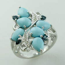 Turquoise 2.56 Ct. Exotic Ring Sterling Silver Authentic Lady Eternity Jewelry