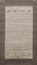 Bordered Modern Gabbeh Oriental Area Rug Hand-knotted Abstract Gray Wool 5x8 ft