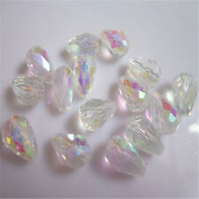 20PCS Teardrop Shape Tear Drop Glass Faceted Loose Crystal Beads White ab
