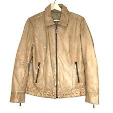 Blue Willi's Danish design Leather jacket studded zip tan brown butter soft 38