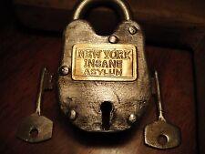Insane Asylum Lock New York Lock With Key Padlock Movie Prop Theater Stage Prop