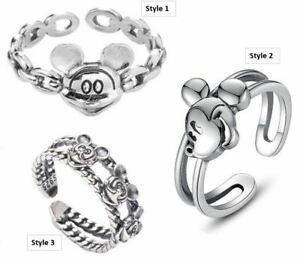 Girls Ladies Disney Parks Mickey Mouse Ears S925 Sterling Silver Adjustable Ring