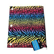 3 Ring Pen Pencil Pouch Rainbow Animal Print Case Zipper Bag School Organizer