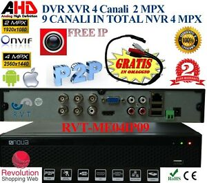 Dvr 4 Canali Ibrido 2 Mpx 9 Canali in Ip 4 Mpx Uscita Video Analogica nvr xvr