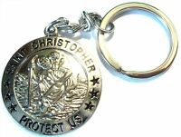 NEW St. Christopher Quality Metal Keyring Patron Saint of Travel Lucky Charm Fob