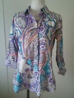 Chicos Button Down Multi Color Shirt size 0 NO IRON Womens Blouse Long Sleeve