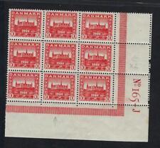 Denmark Sc # 156 Mint Never Hinged Facit 194v White Spot in N Block of 9 Stamps!