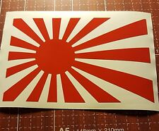 "5.7"" red Japan Rising Sun Vinyl Decal Bumper Sticker Car JDM Honda Acura nissan"
