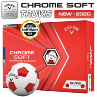 Callaway Chrome Soft Truvis Golf Balls Dozen Pack White/Red - NEW! 2020