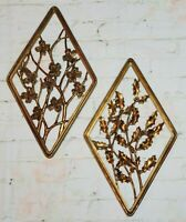 Vtg Mid-Century Modern Wall Decor 2 pc Gilt Gold Syroco Wood Floral Plaques 3D