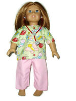 """Butterfly Scrubs with Stethoscope fits American Girl 18"""" Doll Clothes Nurse"""