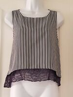 Womens Zara Blue White Stripe Double Layered Lace Hem Boxy Cropped Vest Top S.