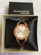 Montres Carlo Women's Rose Gold Watch Silver Dial Linked Bracelet IP New Style!