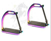 "4.75"" RAINBOW MULTI COLOR HORSE PEACOCK RIDING SAFETY STIRRUPS IRONS GLOSS FILLI"