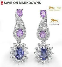5 ct  NATURAL BLUE TANZANITE & AMETHYST SILVER EARRINGS