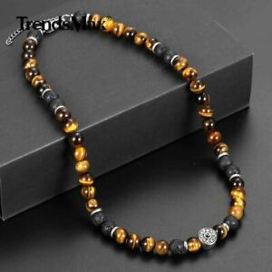 """8MM 18"""" Natural Yellow Tiger Eye's Stone Lava Beaded Necklace Mens Choker Gift"""