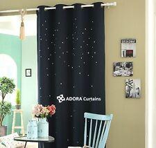Twinkle Stars Top Quality Nursery Baby Toddler Boys Kids Eyelet Curtain - Navy