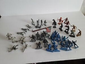 Vintage Lot of 43 pcs Marx Mixed Playset Plastic Figures