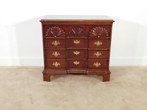 Baker Furniture Company Chippendale Goddard 4 Drawer Dark Inlaid Cherry Chest