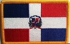 DOMINICAN REPUBLIC FLAG Iron-On Patch Military Tactical Emblem Gold Border