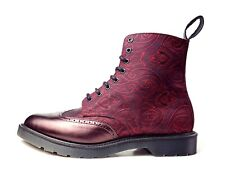NEW Dr. Martens 12 M Calder Cherry Red Anilmorbido Paisley Boots Limited Edition